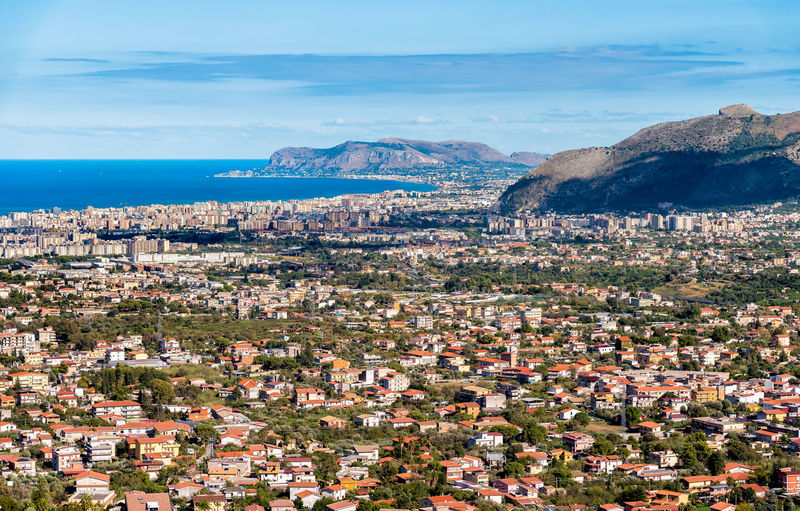 Panoramic view of Palermo city and mediterranean sea coast around, Sicily, Italy Landmarks Palermo Panoramic View Sicily Building Exterior City Cityscape Cloud - Sky Day High Angle View Mountain Nature No People Outdoors Scenics - Nature Sea Top Perspective Top View TOWNSCAPE Water