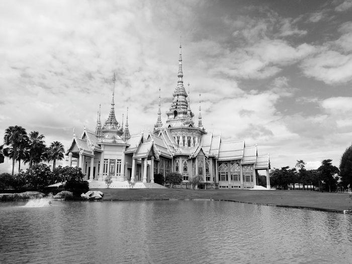 Religion Architecture Travel Destinations Travel Cloud - Sky No People Outdoors Spirituality Tourism Black & White Temple Thailand