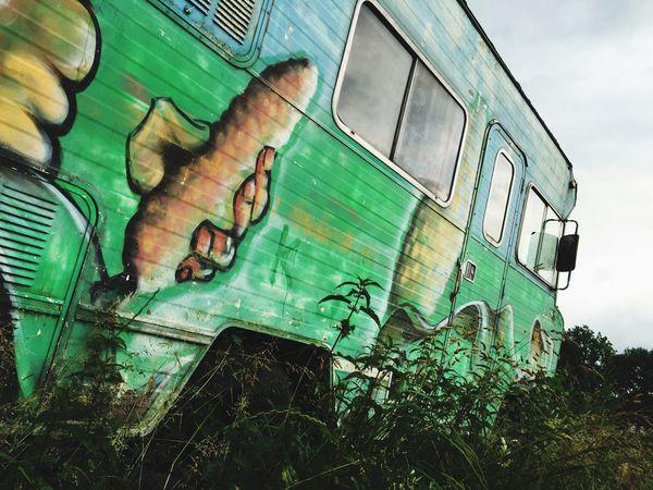 BonVoyage IPhoneography Traveling Van Graffiti Old Van Colorful