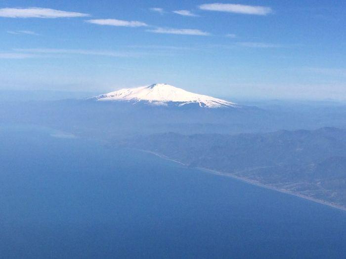 On A Plane Plane Flying Etna Sicily