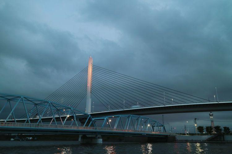 Bridge Harp Sky Cloud Nightphotography Nightview Nightscape Riverside Lighting Tokyo Japan