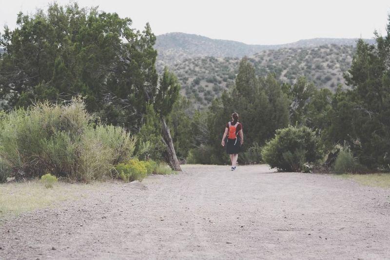Rear view of woman walking on landscape