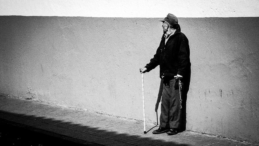 Down In The Past - Old Man in Quito Monochrome A Frame Within A Frame Street Photography Blackandwhite Creative Light And Shadow