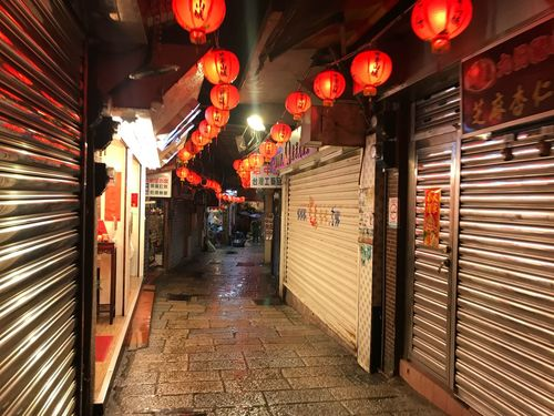Tourism Trip Jiufen Taipei Architecture Lighting Equipment Built Structure Illuminated Building Exterior No People Lantern Night Shutter The Way Forward Closed Building