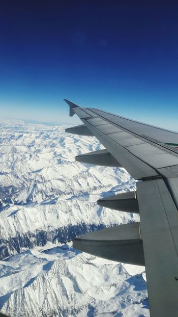 Airplane Sky Aircraft Wing Snow Alps Mountains Beauty In Nature Landscape Aerial ViewNature Skyporn Skyblue Sky Photography Wing Flying No People Outdoors Cold Temperature Flying High