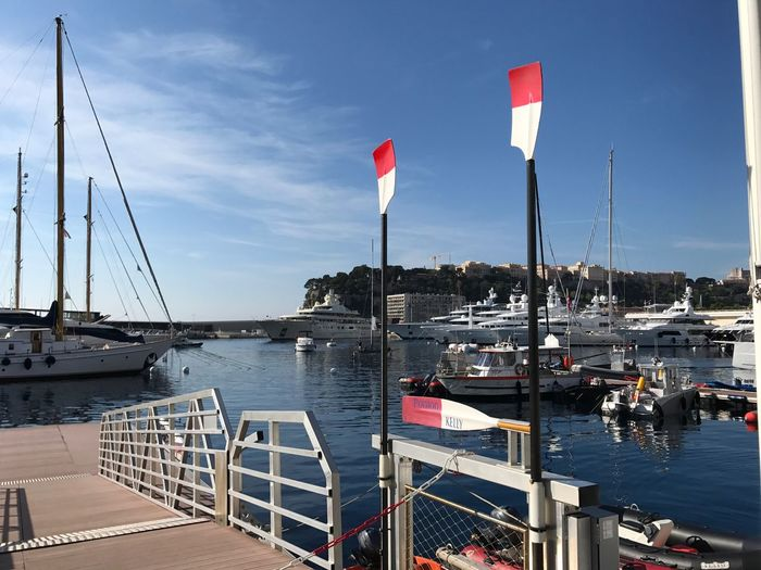 Nautical Vessel Water Sky Moored Transportation Boat Sea Mast Waterfront Sailboat Day Harbor Monte Carlo Monaco Monaco French Riviera Mediterranean  Yacht Club De Monaco