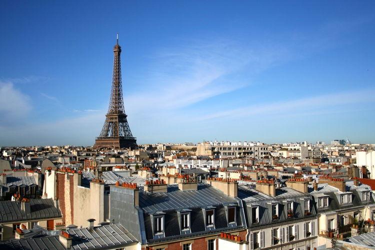 Eiffel tower amidst cityscape against sky