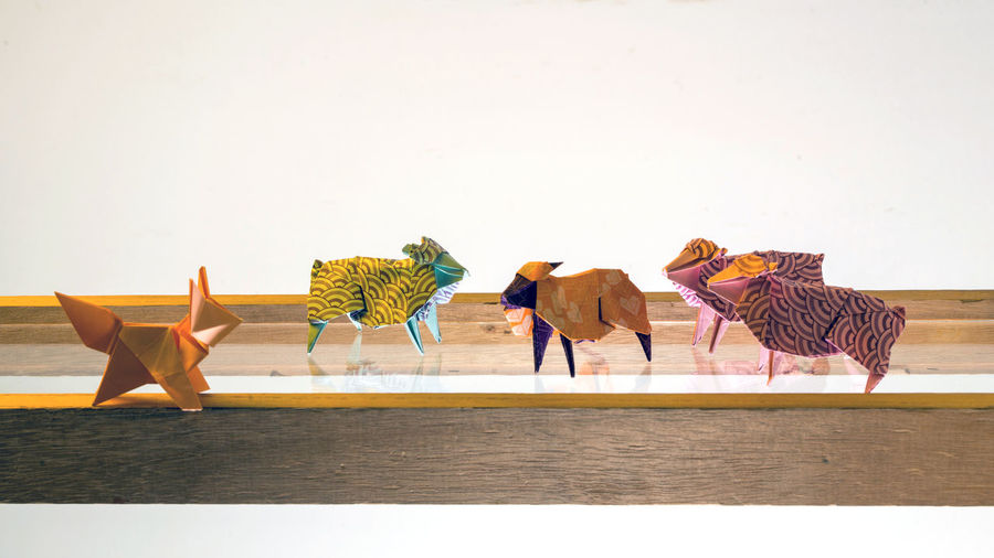 Colorful paper sheep made with the origami technique