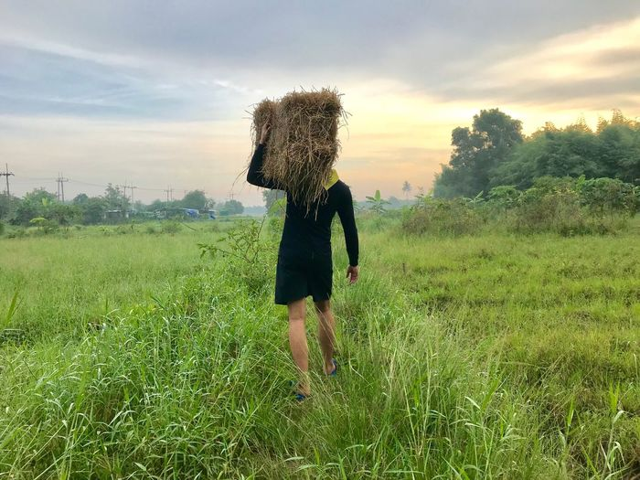 Plant Sky One Person Field Land Real People Green Color Growth Nature Cloud - Sky Grass Lifestyles Beauty In Nature Outdoors
