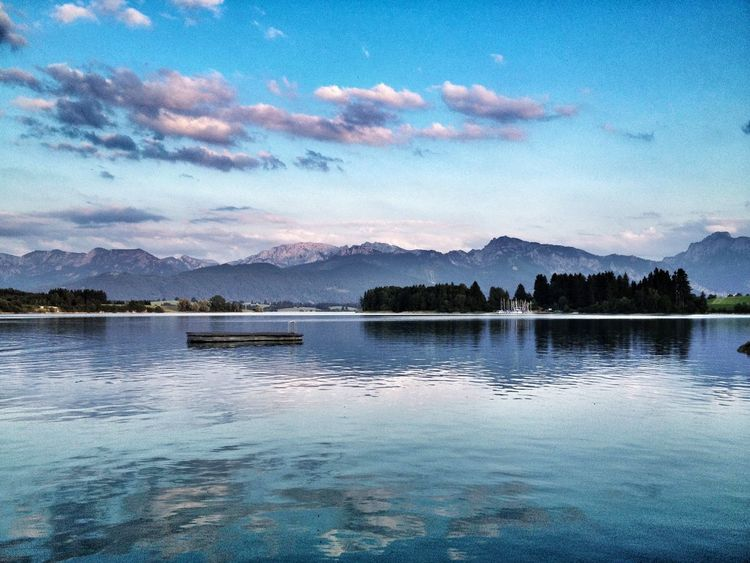 Forggensee Bavaria Allgäu Forggensee Tranquility Relaxing Moments Lake View Water Reflections Clouds And Sky Alps Mountain View