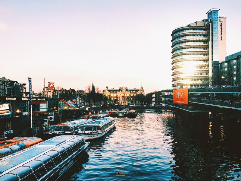Come morning, come sunshine. P.065 365project Onephotoaday Amsterdam City Life Early Morning On My Way To Work Sunshine Beautiful Day Enjoying Life Amsterdam Canal Amsterdamse Grachten Canal Barge Urban Landscape Reflection Showcase: November