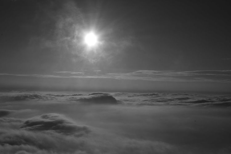 sunrise behind the sea of mist Morning Blackandwhite Cloud - Sky Day Fog Mist Misty Morning Nature Sea Sea Of Mist Sky Son Sun Sunlight Sunrise