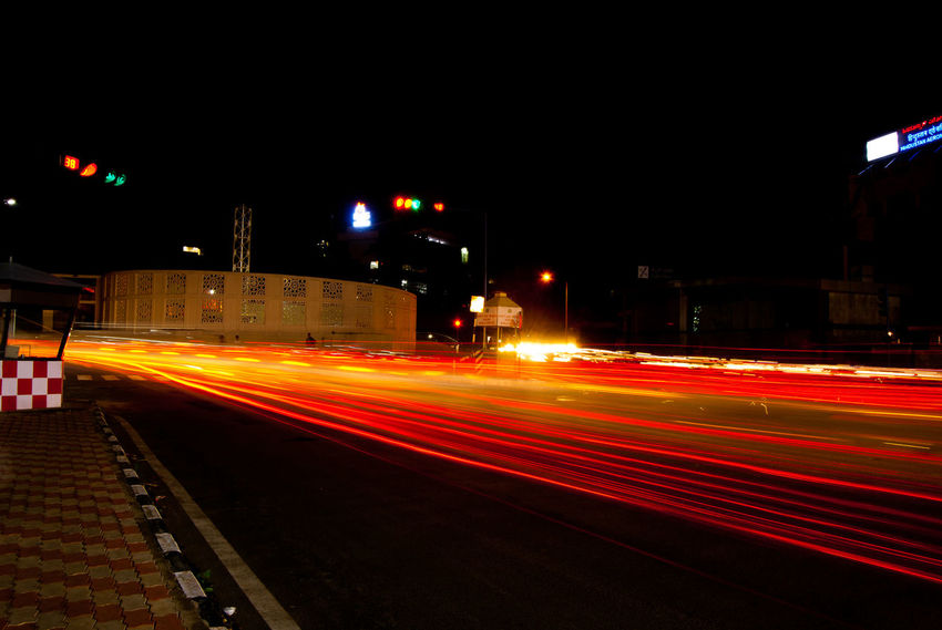 Bangalore Night Photography Blurred Motion Building Exterior City City Life Diminishing Perspective EyeEm Best Shots EyeEm Gallery Illuminated Light Trail Lit Long Exposure Motion Night Outdoors Road Speed Tail Light TakeoverContrast The Way Forward Transportation Vehicle Light