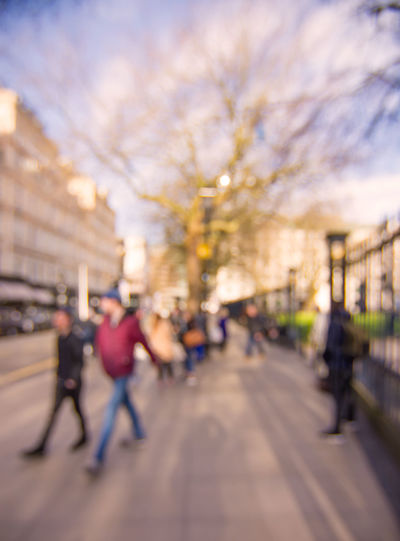 blurred city view Blurred Background Building Exterior City Life Cityscape Crowd Office Workers Outdoors Sky Springtime Street