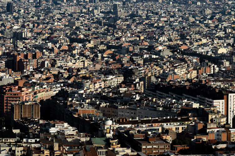 Barcelona City Cityscape Full Frame Modern Backgrounds Aerial View Building Exterior Sky