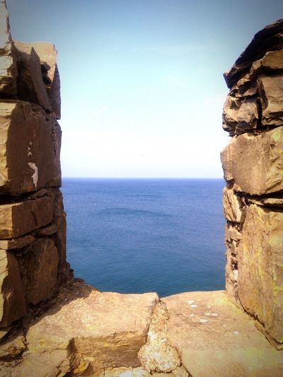 The sea seen from Peel Castle, Isle of Man. Old Buildings Sea Sky Castle Summer Outdoors Blue