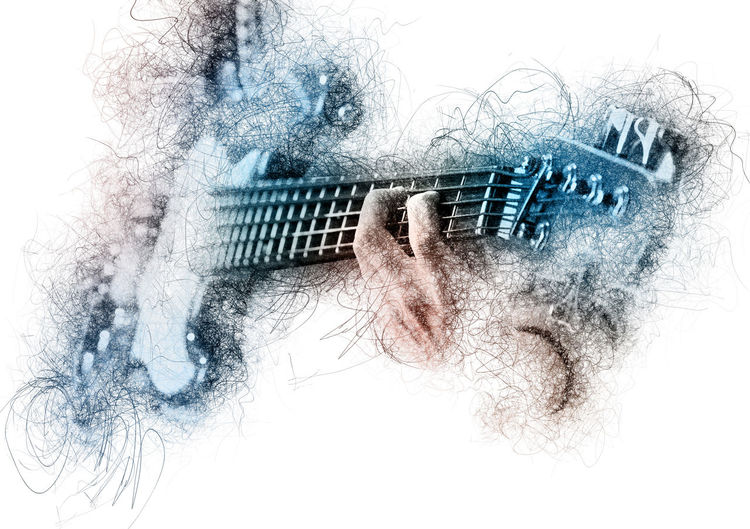 Man playing a guitar. Image with a digital effects Abstract Altered Image Art Artist ArtWork Bass Guitar Computer Generated Creative Digital Digital Art Digital Painting Digitally Generated Generated Graphic Graphical Guitar Guitarist Hands Man Musical Instrument Pencil Drawing Pencil Sketch  People Playing Guitar Woman
