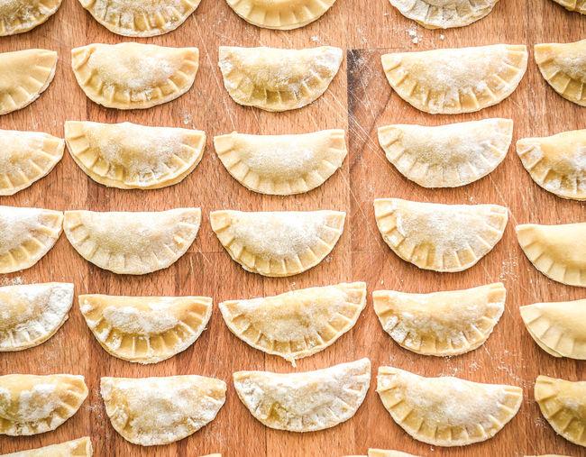 Close-up of raviolis on table