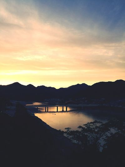 Rivrer Water Sunset Reflection Sky
