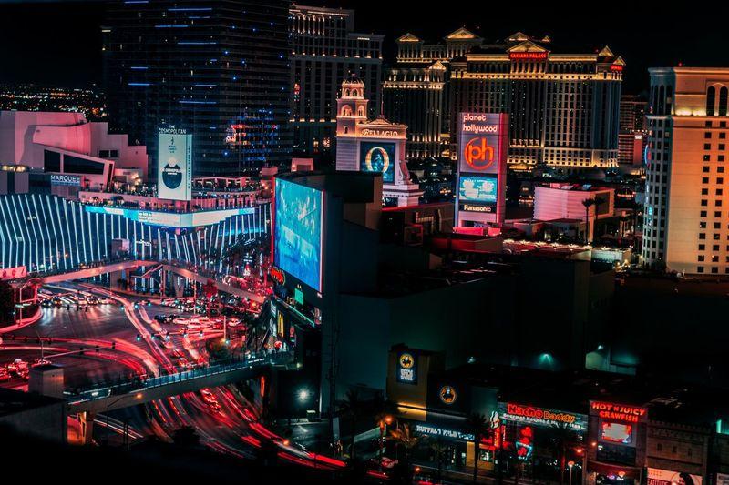 Vegas Baby! Las Vegas Illuminated Architecture Night Building Exterior Built Structure City #urbanana: The Urban Playground Communication No People Cityscape Office Building Exterior City Life Text Modern Glowing Lighting Equipment Red Outdoors Building Tall - High Advertisement #urbanana: The Urban Playground