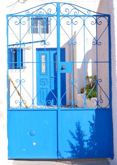 Closed glass door of building