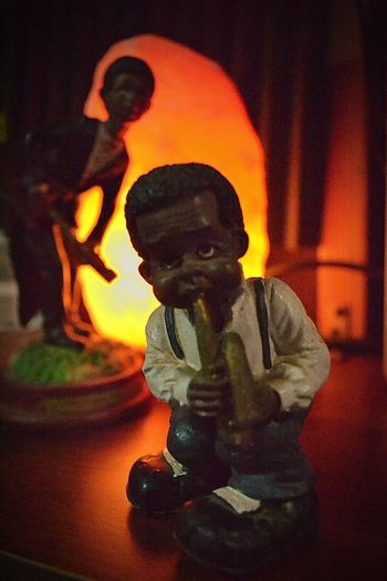 Louis Armstrong Statue Art And Craft Male Likeness Creativity Sculpture Orange Color Night Indoors  No People Halloween Close-up Pumpkin Jack O Lantern Second Acts