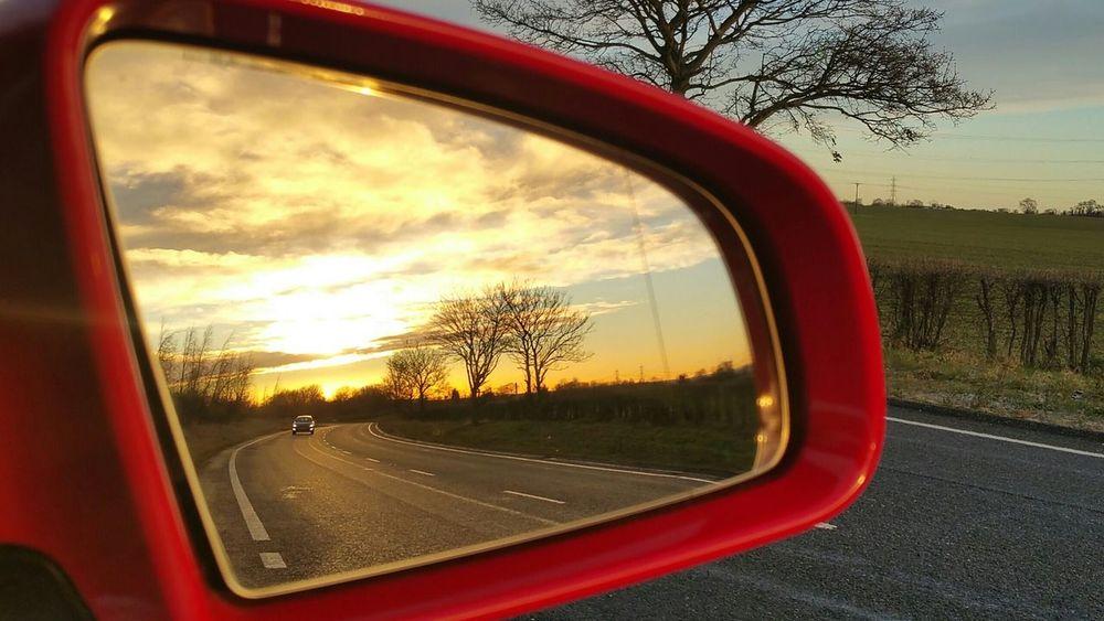 look back Side-view Mirror EyeEmNewHere EyeEm Best Shots Eye4photography  Lookback On My Way Like Lokeforlike Window Tree Reflection Sunset Red Cloud - Sky Sky Road Day No People Outdoors Nature Close-up