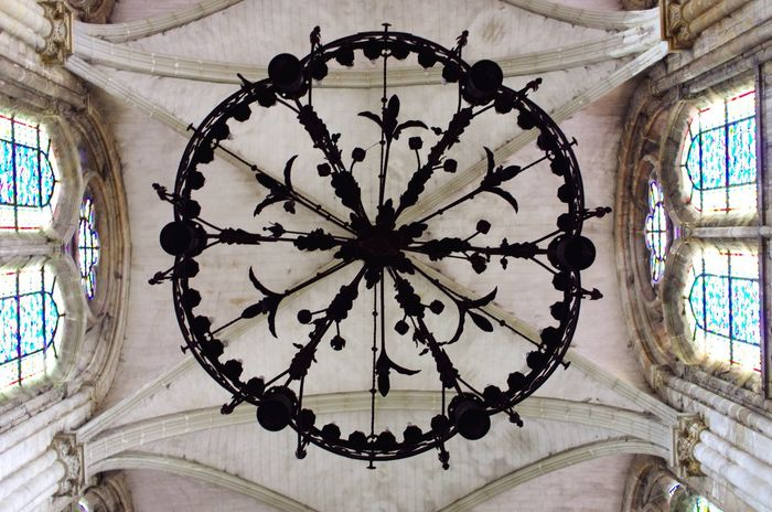 Pattern Built Structure Architecture No People Indoors  Day Ceiling Church High Height Chateauroux Low Angle View Iron Chandelier Elaborate Dramatic Angle Handcraft France Window Medieval Glass Stained Window