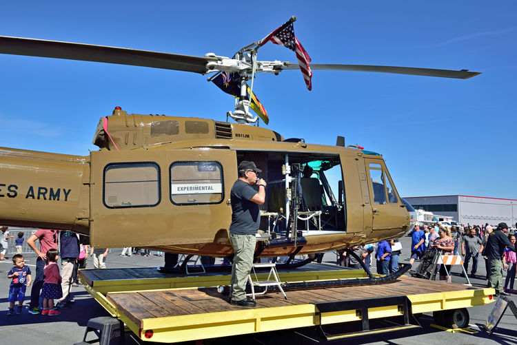 Hayward Executive Airport _ Open House 17 Huey Helicopter Bell UH-1 Iroquois HU-1 U.S.Army Utility Military Helicopter Introduced1959 Bell Helicopter Single Turboshaft Engine Equipped With Two-blade Main & Tail Rotors Main Role: Close Air Support For Ground Troops 2nd Role: Gunship Anti-tank Ground Attack Air Assault Military Logistics Command & Control Medical Evacuation 1st Service: Vietnam War Weapons: Autocannons,machine Guns,rockets Guided Anti-tank Missles Air-to-air Missles Aeronautics Special Salute To All Veterans