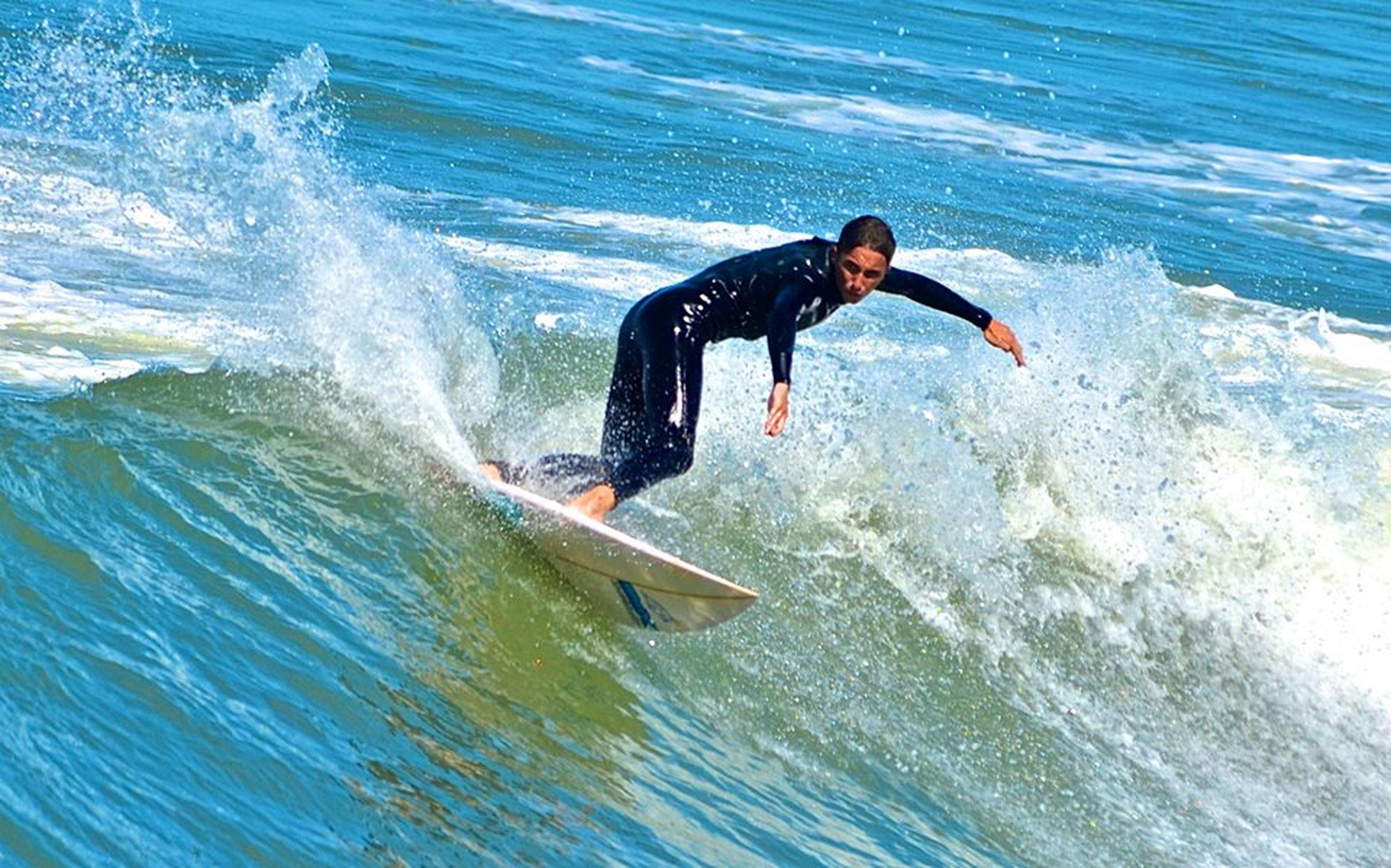 water, sea, wave, motion, waterfront, one animal, jumping, animal themes, splashing, swimming, leisure activity, full length, surfing, lifestyles, enjoyment, surf, blue, nature