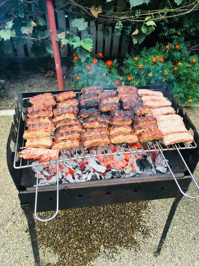 Meat Day Food Food And Drink No People High Angle View Nature Sunlight Freshness Outdoors Plant Arrangement Barbecue Shadow Architecture Abundance Healthy Eating Preparation  Barbecue Grill Heat - Temperature Built Structure