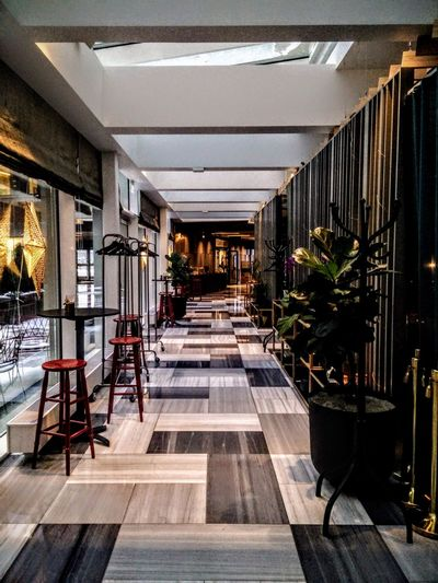 Hotel Academia Uppsala. Perspective Hotel Tiles Floor Indoors  Architecture Corridor Chair No People Day