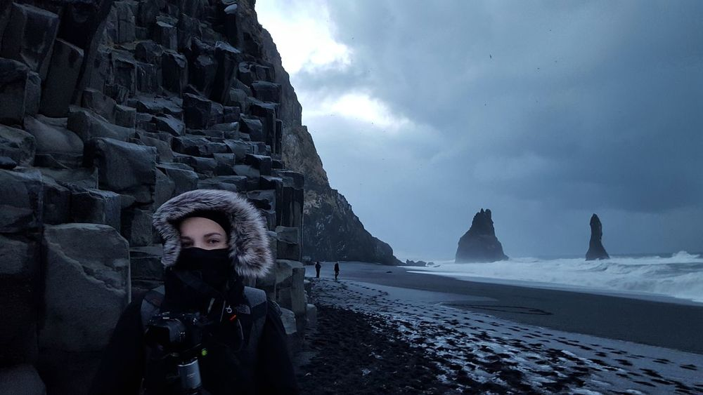 One Person Outdoors One Woman Only Cold Temperature Adventure Winter Iceland_collection Landscape Blacksandbeach Rocky Coastline