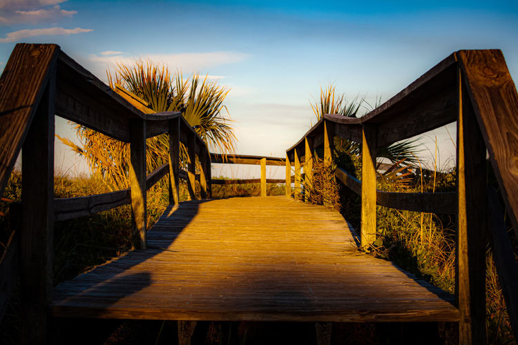 Empty boardwalk amidst plants against sky during sunset