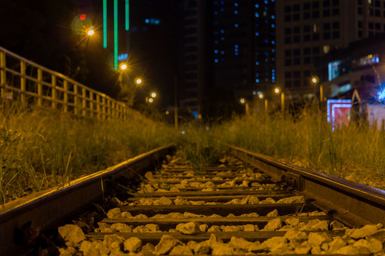 train railway Architecture Building Exterior Built Structure City Illuminated Night No People Outdoors Rail Transportation Railroad Track The Way Forward Train Railway Train Station Train Station Platform Tree
