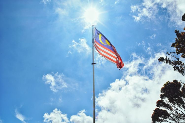 Malaysian Flag Taken By Me At The Peak Of The Gunung Irau Cameron Highlands - Low Angle View Sky Patriotism Cloud - Sky Day Outdoors No People EyeEmNewHere