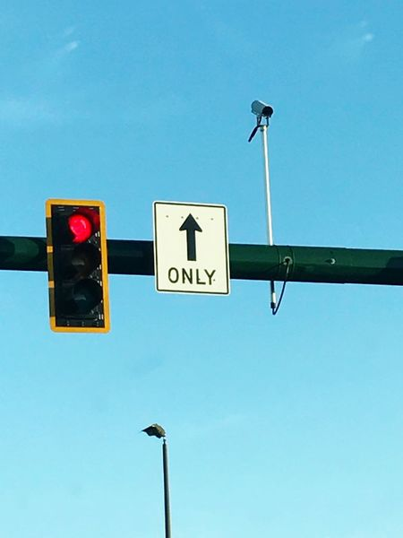 Red Light Trafficlight Red Light Camera Blue Sky Low Angle View Communication Guidance Street Light Clear Sky Day No People Outdoors Through My Windshield Road Sign Signal