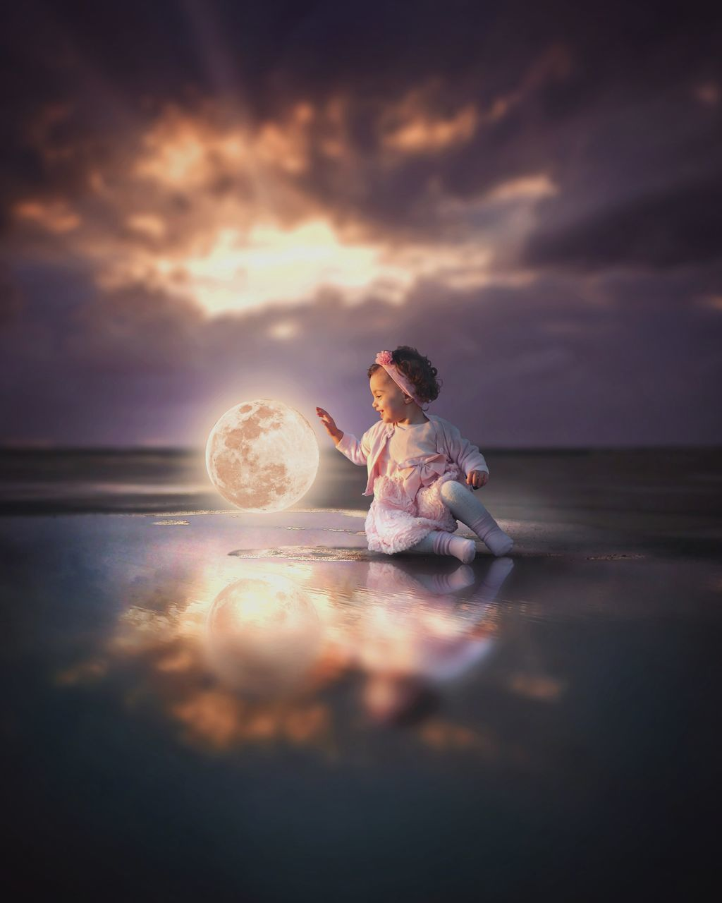 sky, water, one person, cloud - sky, scenics - nature, sunset, real people, sea, beauty in nature, nature, beach, tranquility, land, horizon over water, horizon, leisure activity, tranquil scene, idyllic, outdoors, digital composite