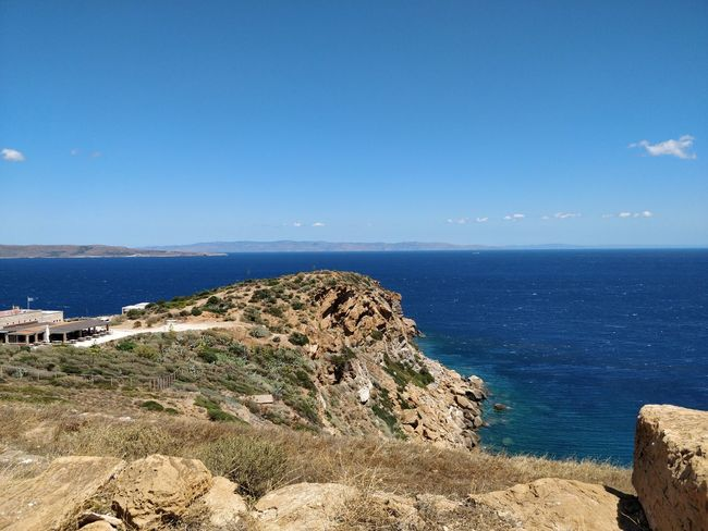Shot on OnePlus 5 Travel Beauty In Nature Blue Blue Sky Clear Sky Day Greece Horizon Over Water Mountain Nature No People Outdoors Scenics Sea Sky Sounio Tranquil Scene Tranquility Travel Destinations Water