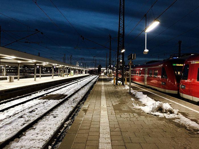 Railroad station platform during winter