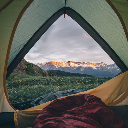 Mountain Sky Beauty In Nature Nature Scenics - Nature Landscape Environment Tent Mountain Range Window Cloud - Sky No People Indoors  Tranquility Non-urban Scene Day Land Tranquil Scene Glass - Material Transparent
