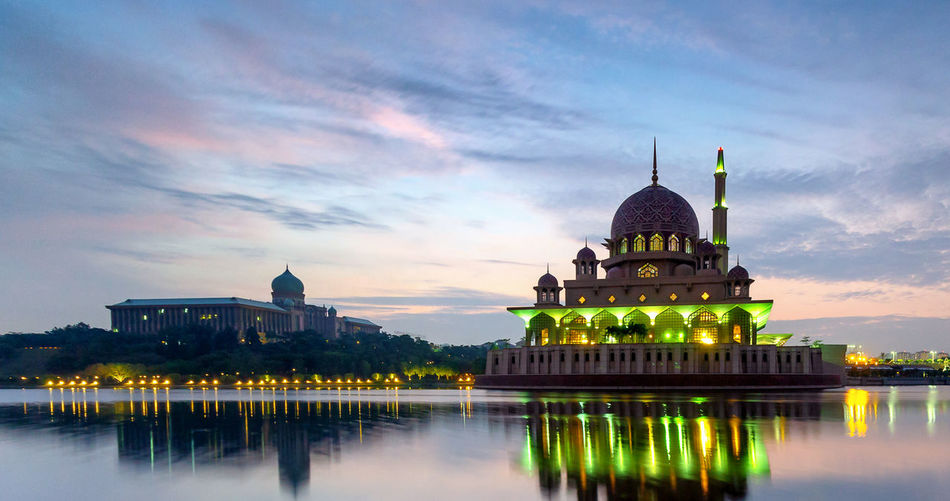 Architecture Belief Building Building Exterior Built Structure Cloud - Sky Dome Government Illuminated No People Outdoors Place Of Worship Putrajaya Reflection Religion Sky Spire  Spirituality Travel Travel Destinations Water Waterfront