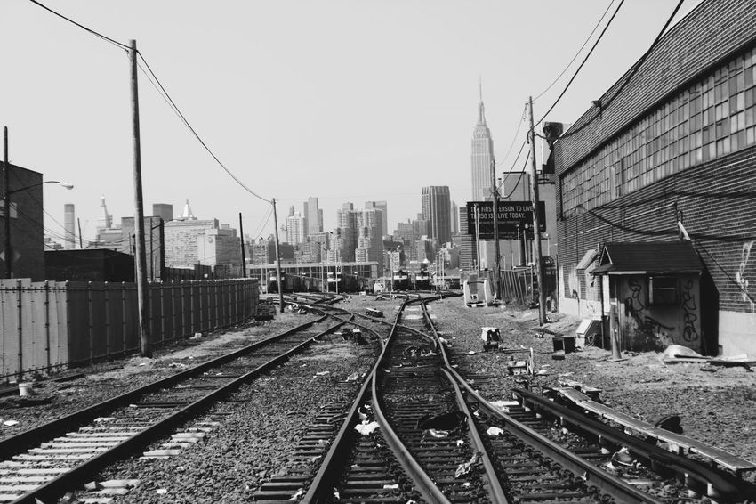 Trackside Newyork Blackandwhite Urban Landscape Shades Of Grey