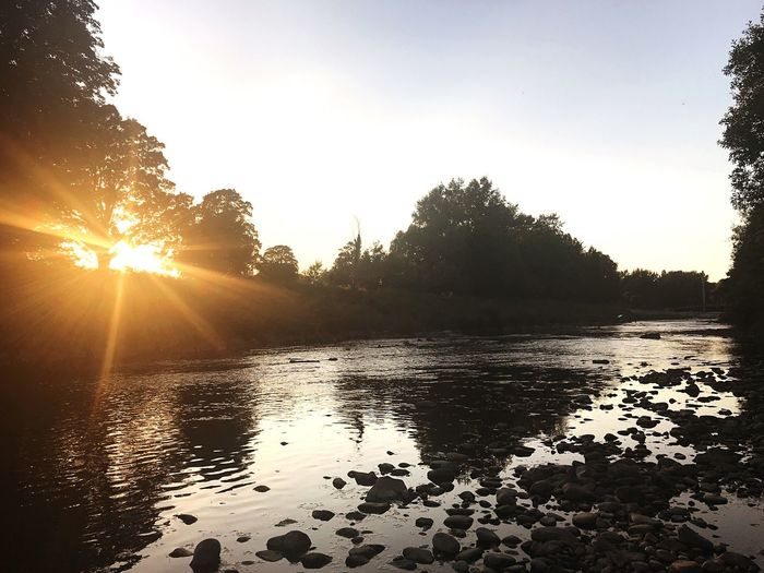 River Sunset Cardiff Sky Water Tree Plant Tranquility Scenics - Nature Nature Sunset Beauty In Nature Sunlight Reflection Tranquil Scene No People Lens Flare Idyllic