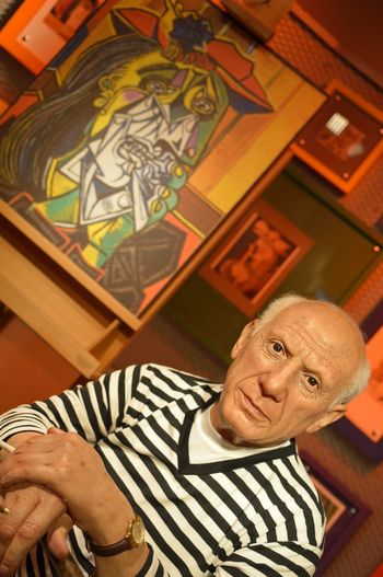 Pablo Picasso Art Art And Craft Childhood Creativity Design Fashion Happiness Holding Human Representation Indoors  Lifestyles Madame Tussauds Music Part Of Pattern Real People Sitting Technology Variation Wax Dolls Wax Museum