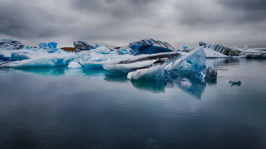 Travel to iceland. beautiful cold landscape. jokulsarlon glacier lagoon.