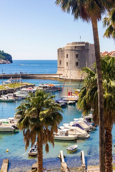 Dubrovnik, Croatia Town Seascape Pirates Adriatic Sea Palm Castle Neighborhood Map