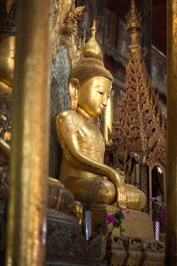 Nga Phe Kyaung Monastery, Inle Lake, Myanmar Buddha Buddha Temple Buddhist Architecture Art And Craft Belief Buddha Statue Building Built Structure Gilded Gold Gold Colored Inle Lake Myanmar No People Ornate Place Of Worship Religion Representation Sculpture Spirituality Statue