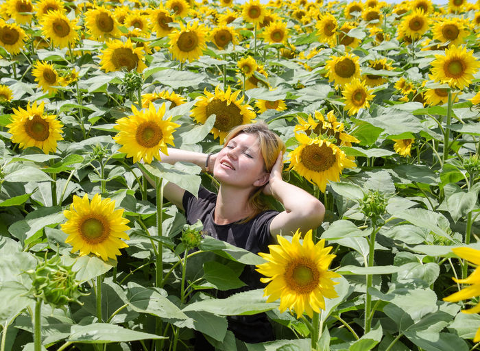 Young Woman Amidst Sunflowers