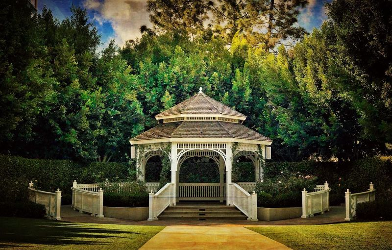 The gazebo at the Rose Garden of the Disneyland Hotel in Anaheim. Tranquil Scene Gazebo Tree Architecture No People Built Structure Nature Green Color Cloud - Sky